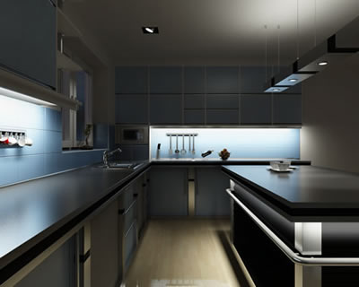 Kitchen Cabinet Lighting. Light Beige Tones Cover The Minimalist ...