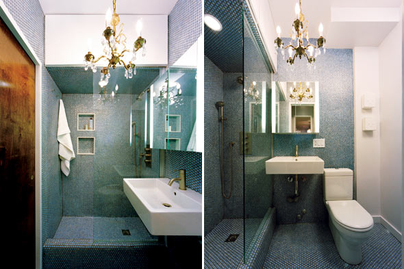 chandelier in bathroom