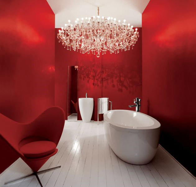 Red Bathroom Chandelier